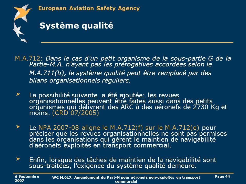 European Aviation Safety Agency 6 Septembre 2007 WG M.017: Amendement du Part-M pour aéronefs non-exploités en transport commercial Page 44 Système qu