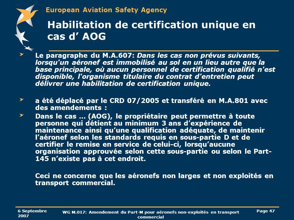 European Aviation Safety Agency 6 Septembre 2007 WG M.017: Amendement du Part-M pour aéronefs non-exploités en transport commercial Page 47 Habilitati