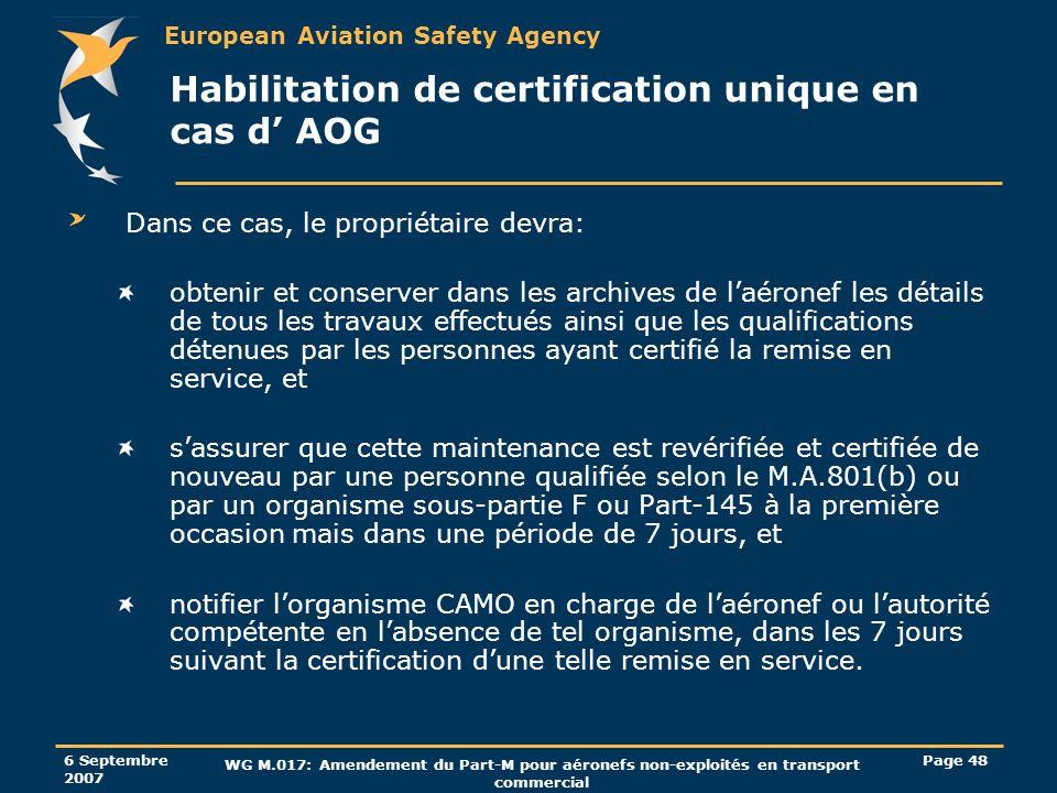 European Aviation Safety Agency 6 Septembre 2007 WG M.017: Amendement du Part-M pour aéronefs non-exploités en transport commercial Page 48 Habilitati