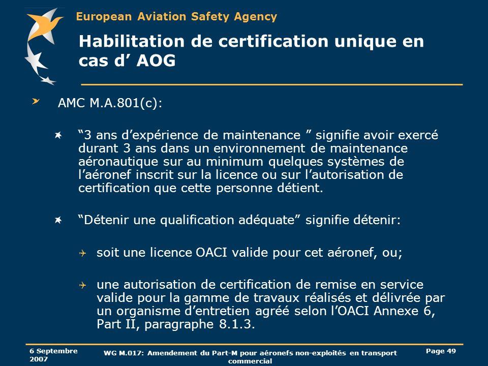 European Aviation Safety Agency 6 Septembre 2007 WG M.017: Amendement du Part-M pour aéronefs non-exploités en transport commercial Page 49 Habilitati