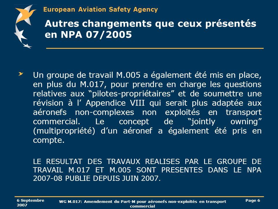 European Aviation Safety Agency 6 Septembre 2007 WG M.017: Amendement du Part-M pour aéronefs non-exploités en transport commercial Page 27 Exigence dexpérience continue des personnels de certification Pour le personnel de certification des organismes sous- part F, la notion de 6 mois dexpérience pertinente en matière d entretien au cours des deux dernières années a été modifiée pour indiquer à la place que lexigence est celle du Part-66.