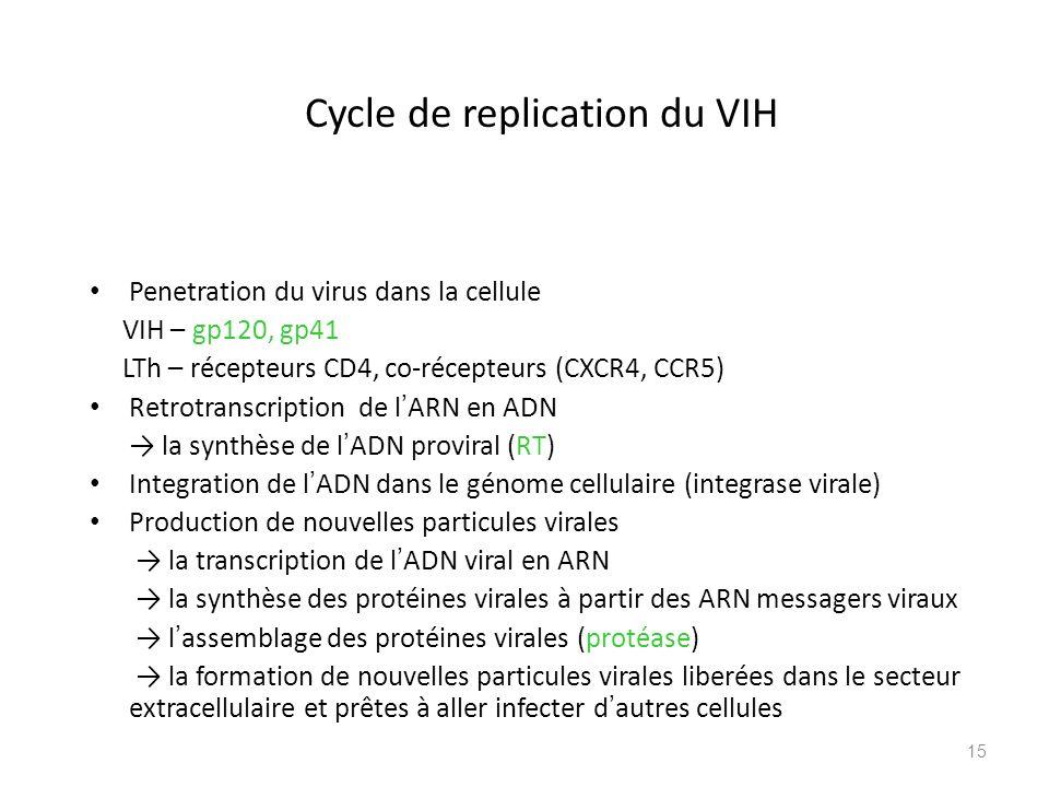 Cycle de replication du VIH Penetration du virus dans la cellule VIH – gp120, gp41 LTh – récepteurs CD4, co-récepteurs (CXCR4, CCR5) Retrotranscriptio