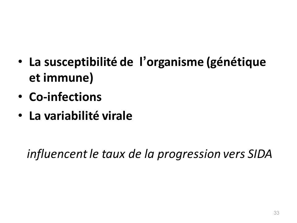 La susceptibilité de l organisme (génétique et immune) Co-infections La variabilité virale influencent le taux de la progression vers SIDA 33