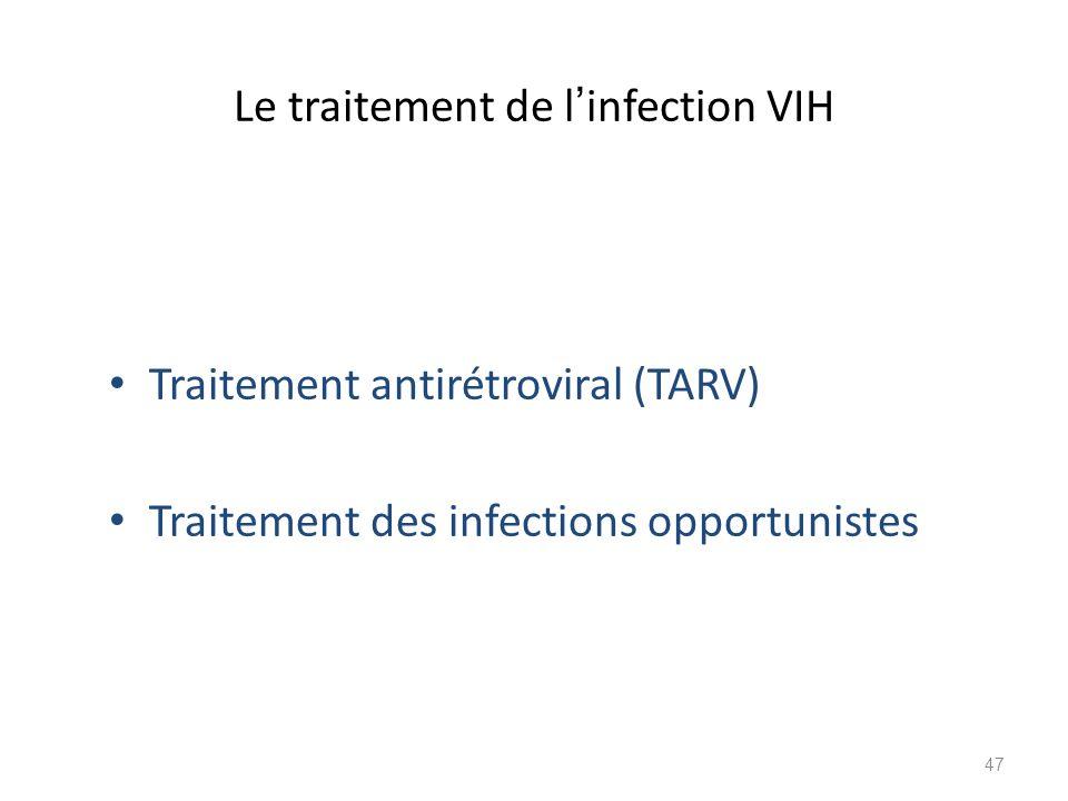 Le traitement de l infection VIH Traitement antirétroviral (TARV) Traitement des infections opportunistes 47