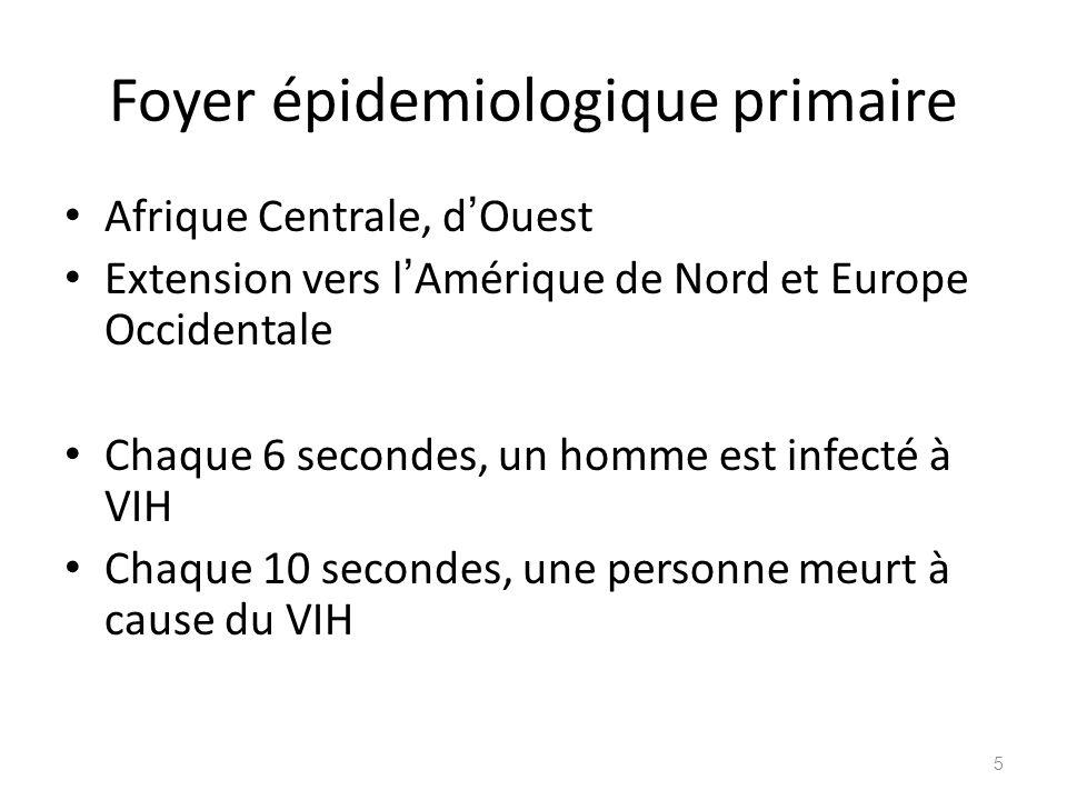 Foyer épidemiologique primaire Afrique Centrale, d Ouest Extension vers l Amérique de Nord et Europe Occidentale Chaque 6 secondes, un homme est infec