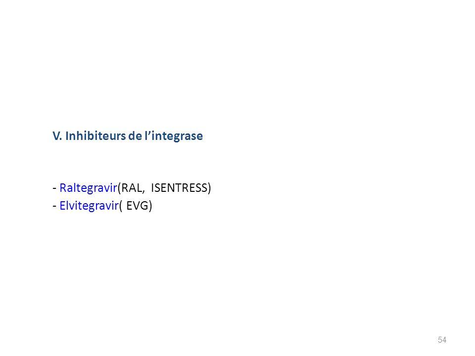 V. Inhibiteurs de lintegrase - Raltegravir(RAL, ISENTRESS) - Elvitegravir( EVG) 54