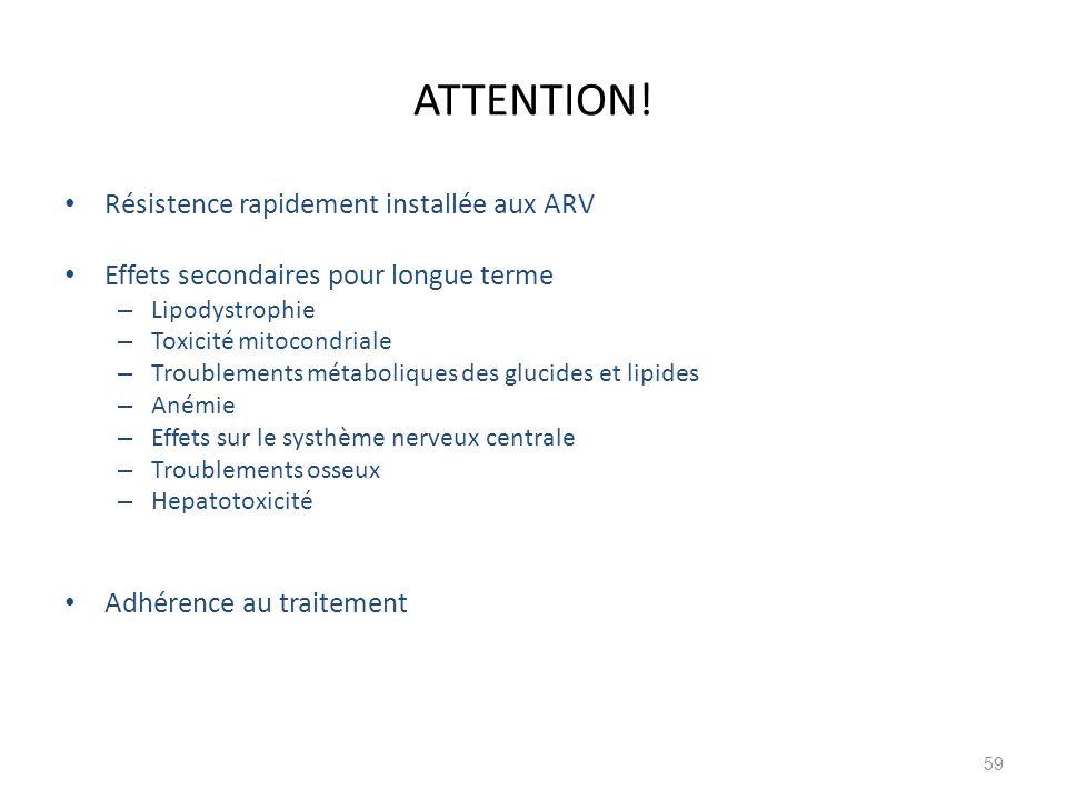 ATTENTION! Résistence rapidement installée aux ARV Effets secondaires pour longue terme – Lipodystrophie – Toxicité mitocondriale – Troublements métab