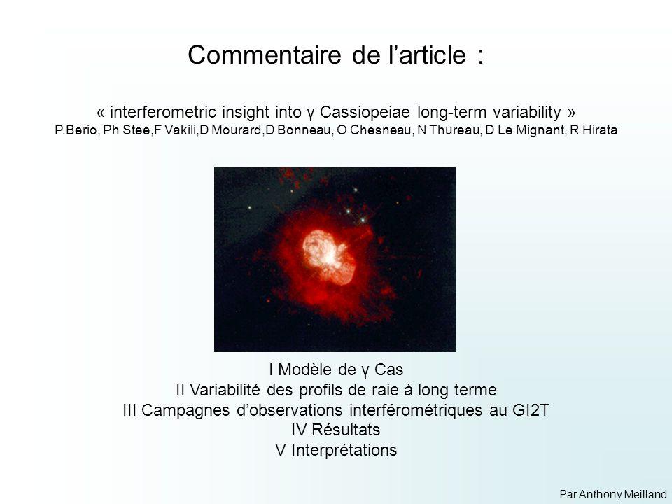 Etoile de type B0.5IV T eff : 25000 K Masse : 16 M Θ Rayon : 10 R Θ en rotation rapide Vsin i = 230 km/s ( i=45°) 60% de Vcritique(450km/s) Fort vent radiatif (2000km/s) Raies UV Faible vent radiatif (200 km/s) Enveloppe de gaz en rotation e0.72 Emission des raies Hαet Hβ I Modèle de γ Cas Excès Infrarouge