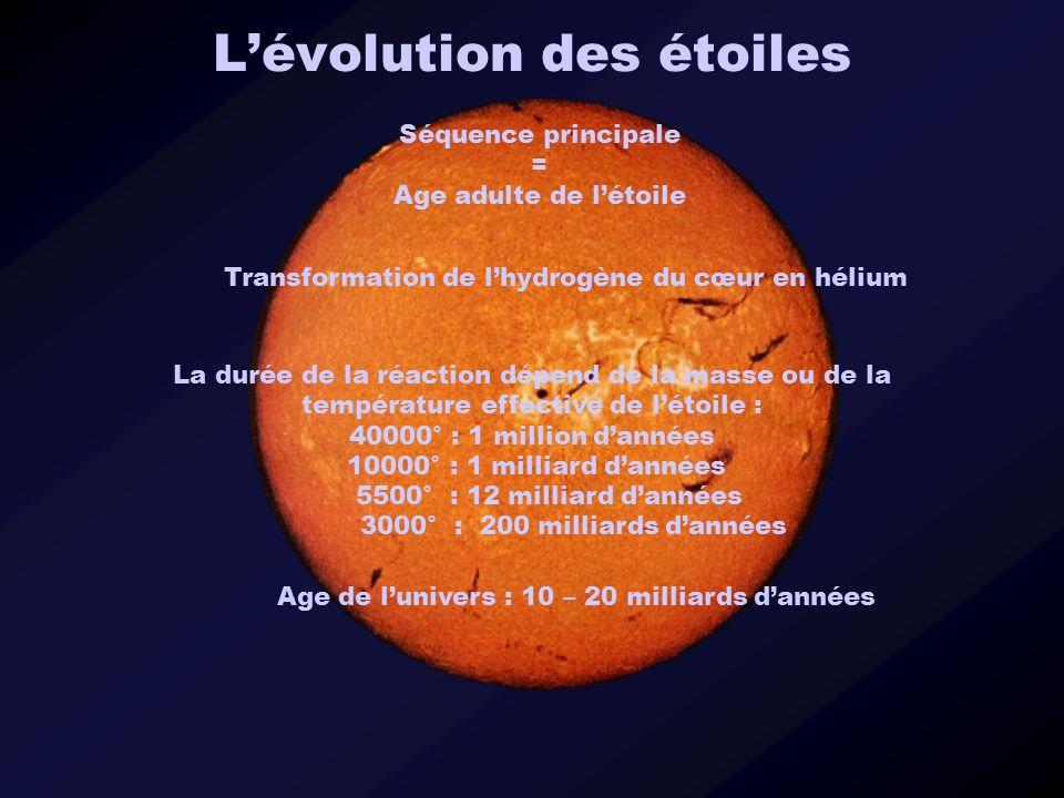 Lévolution des étoiles Séquence principale = Age adulte de létoile Transformation de lhydrogène du cœur en hélium La durée de la réaction dépend de la