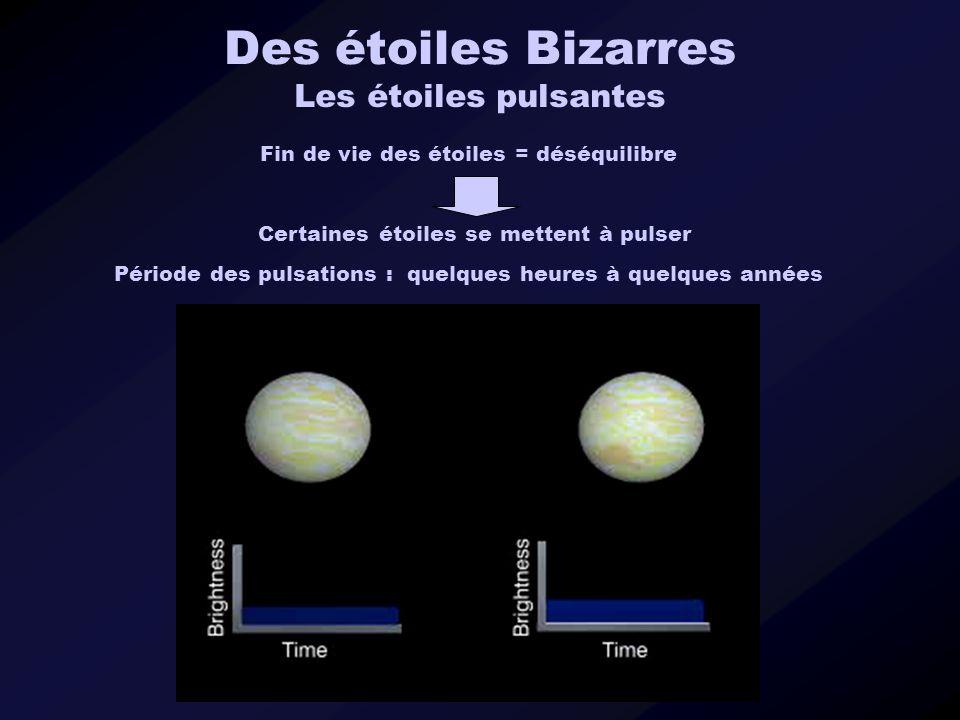 Des étoiles Bizarres Les étoiles pulsantes Fin de vie des étoiles = déséquilibre Certaines étoiles se mettent à pulser Période des pulsations : quelqu
