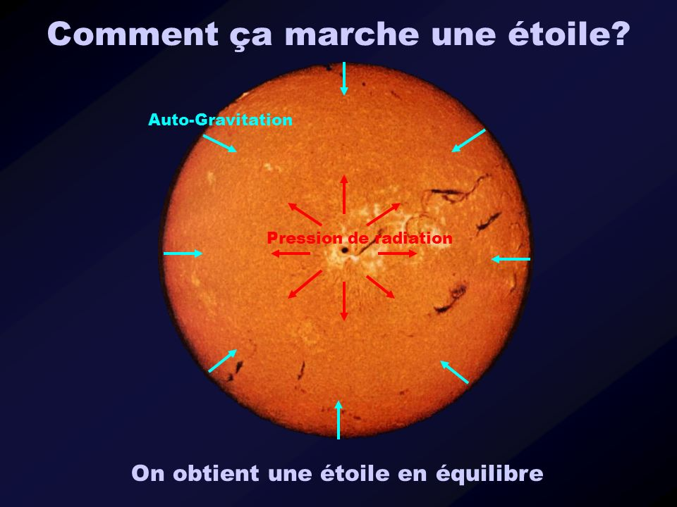 Comment ça marche une étoile? Auto-Gravitation Pression de radiation On obtient une étoile en équilibre