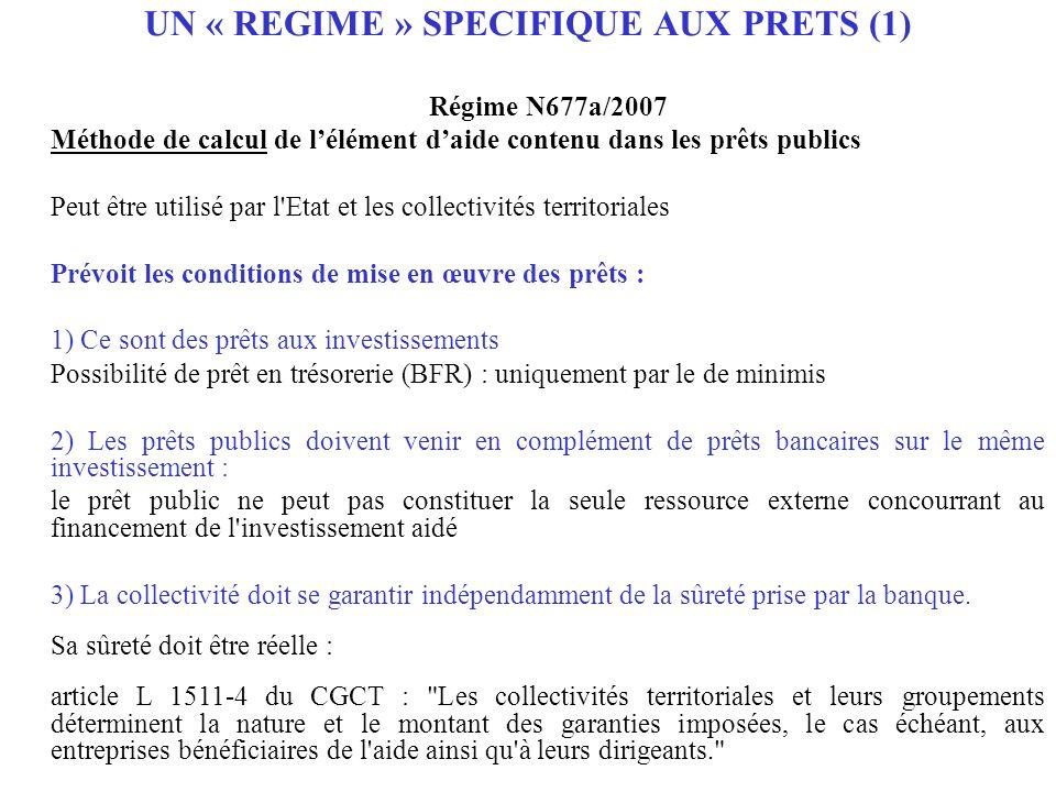 Régime N677a/2007 Méthode de calcul de lélément daide contenu dans les prêts publics Peut être utilisé par l'Etat et les collectivités territoriales P
