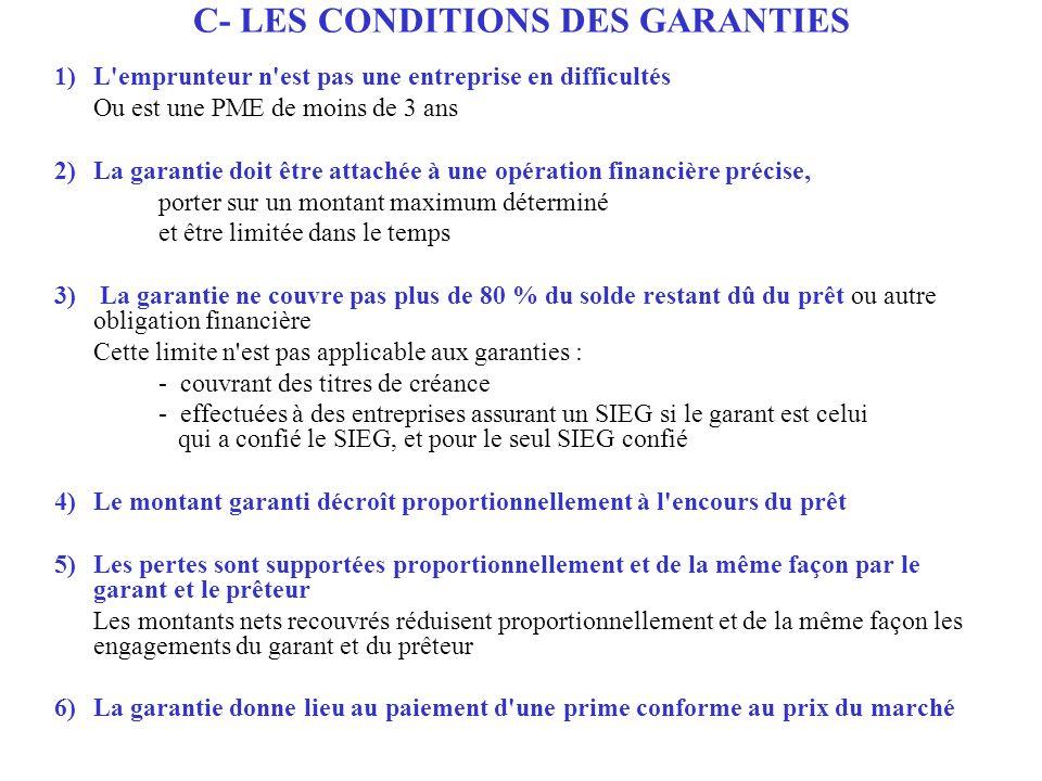 1) L'emprunteur n'est pas une entreprise en difficultés Ou est une PME de moins de 3 ans 2) La garantie doit être attachée à une opération financière