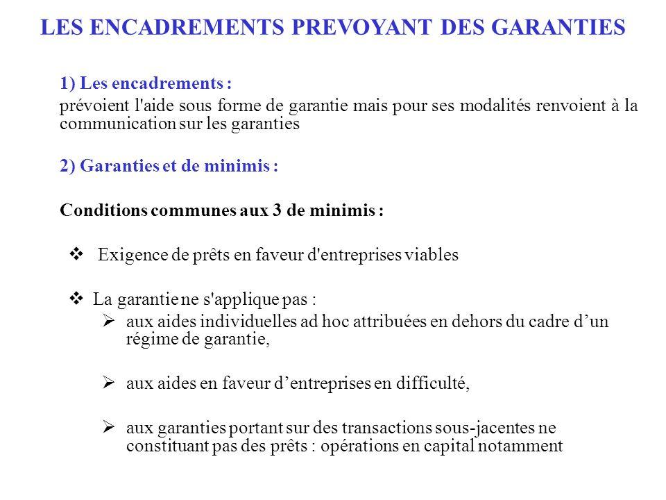 LES ENCADREMENTS PREVOYANT DES GARANTIES 1) Les encadrements : prévoient l'aide sous forme de garantie mais pour ses modalités renvoient à la communic
