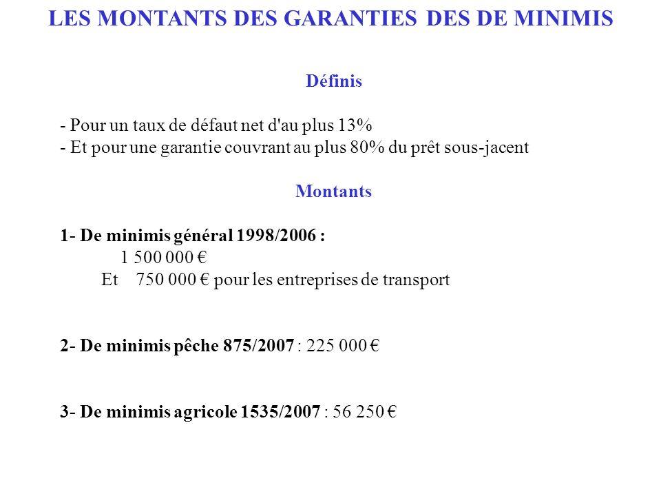 LES MONTANTS DES GARANTIES DES DE MINIMIS Définis - Pour un taux de défaut net d'au plus 13% - Et pour une garantie couvrant au plus 80% du prêt sous-