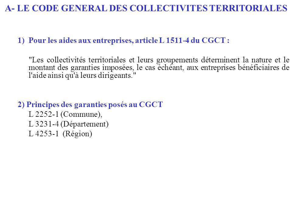 1)Pour les aides aux entreprises, article L 1511-4 du CGCT :