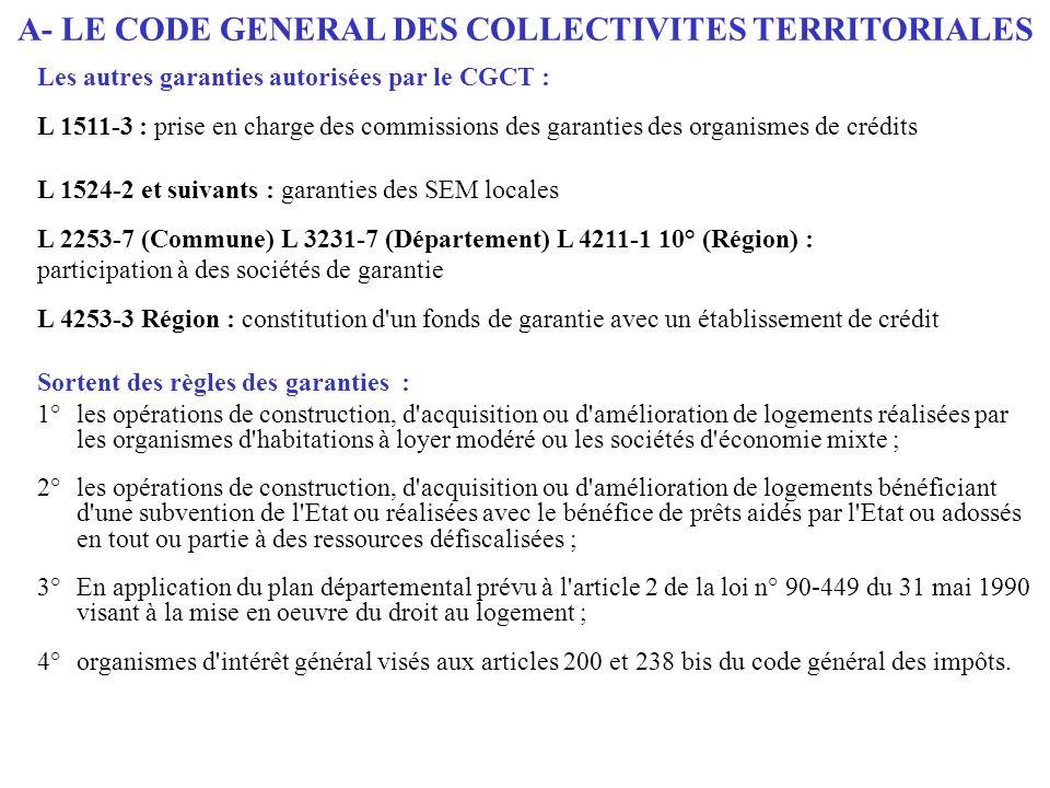 Les autres garanties autorisées par le CGCT : L 1511-3 : prise en charge des commissions des garanties des organismes de crédits L 1524-2 et suivants