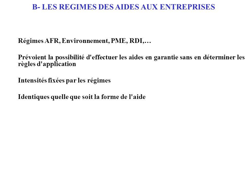 Régimes AFR, Environnement, PME, RDI,… Prévoient la possibilité d'effectuer les aides en garantie sans en déterminer les règles d'application Intensit