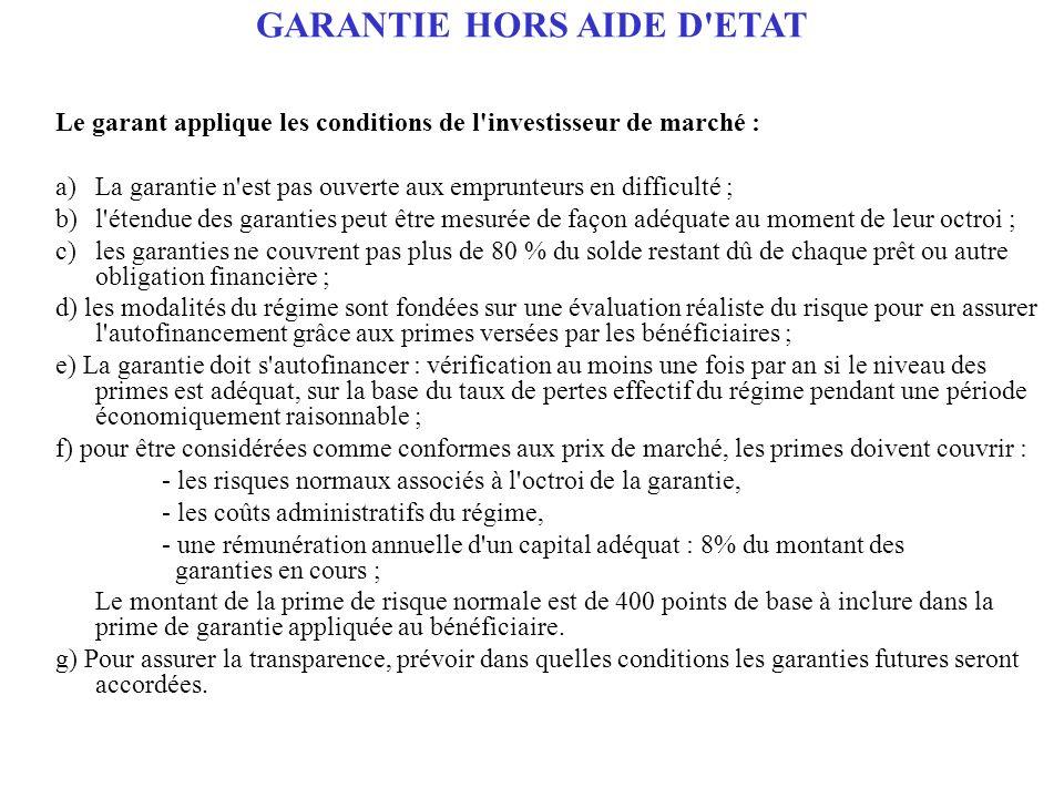 GARANTIE HORS AIDE D'ETAT Le garant applique les conditions de l'investisseur de marché : a)La garantie n'est pas ouverte aux emprunteurs en difficult