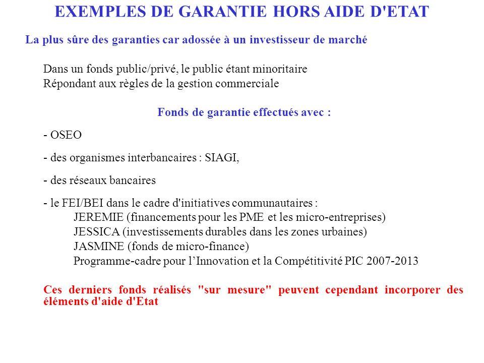 EXEMPLES DE GARANTIE HORS AIDE D'ETAT La plus sûre des garanties car adossée à un investisseur de marché Dans un fonds public/privé, le public étant m