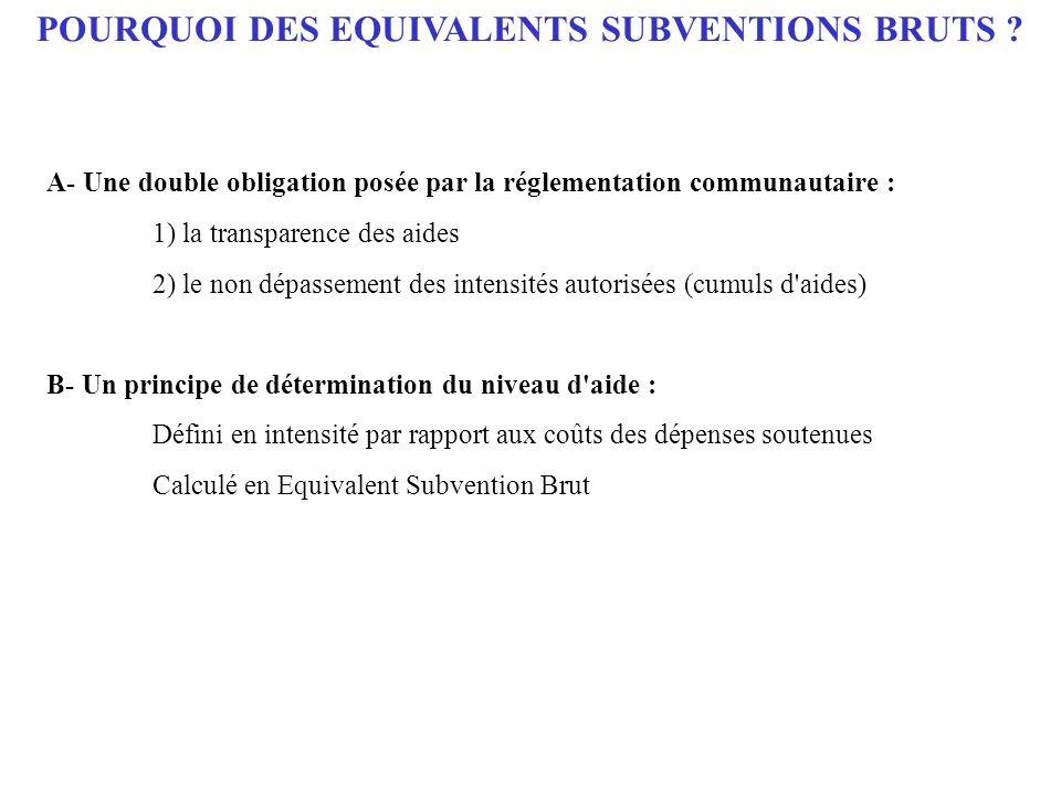 POURQUOI DES EQUIVALENTS SUBVENTIONS BRUTS ? A- Une double obligation posée par la réglementation communautaire : 1) la transparence des aides 2) le n