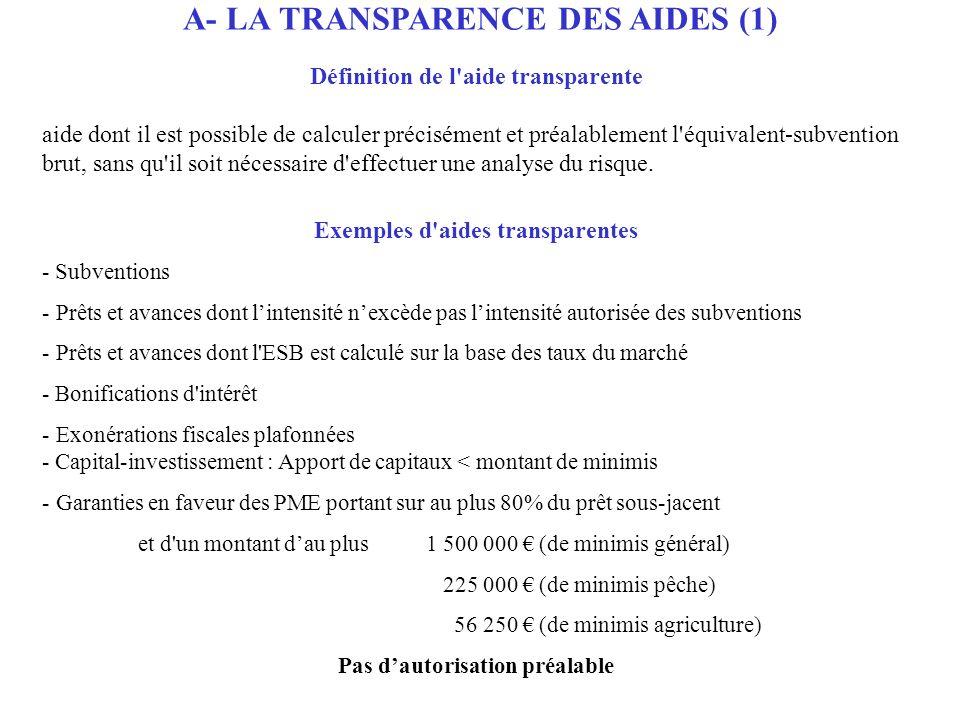 A- LA TRANSPARENCE DES AIDES (1) Définition de l'aide transparente aide dont il est possible de calculer précisément et préalablement l'équivalent-sub