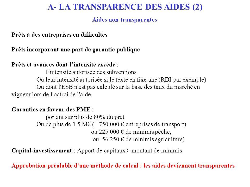 A- LA TRANSPARENCE DES AIDES (2) Aides non transparentes Prêts à des entreprises en difficultés Prêts incorporant une part de garantie publique Prêts