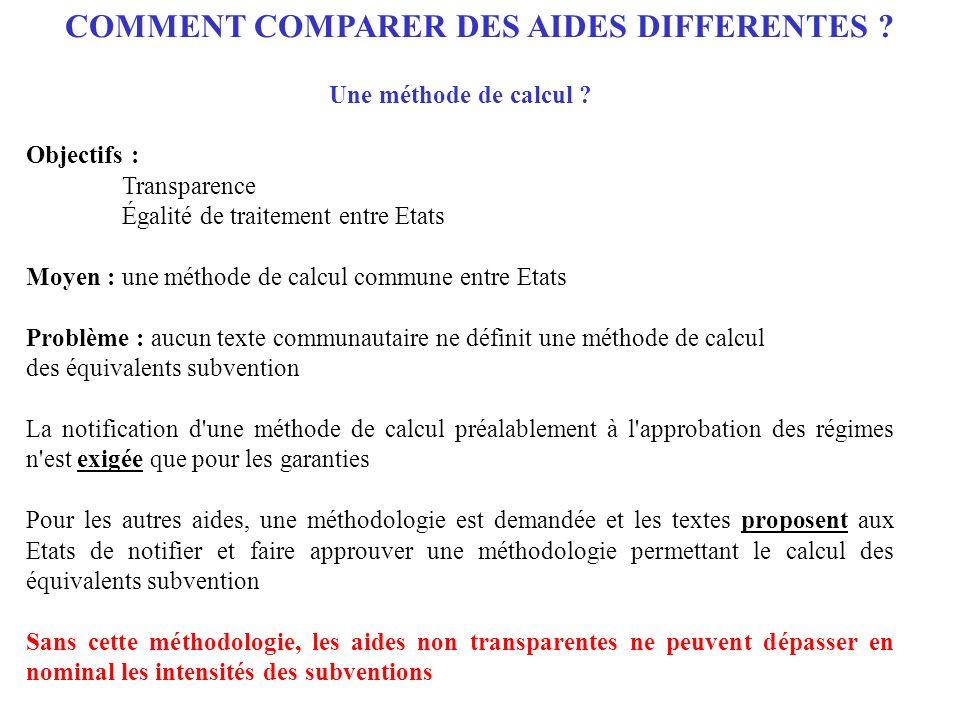 COMMENT COMPARER DES AIDES DIFFERENTES ? Une méthode de calcul ? Objectifs : Transparence Égalité de traitement entre Etats Moyen : une méthode de cal