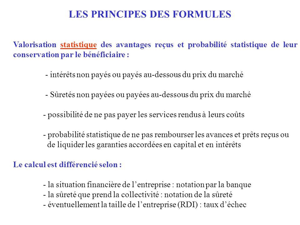 LES PRINCIPES DES FORMULES Valorisation statistique des avantages reçus et probabilité statistique de leur conservation par le bénéficiaire : - intérê