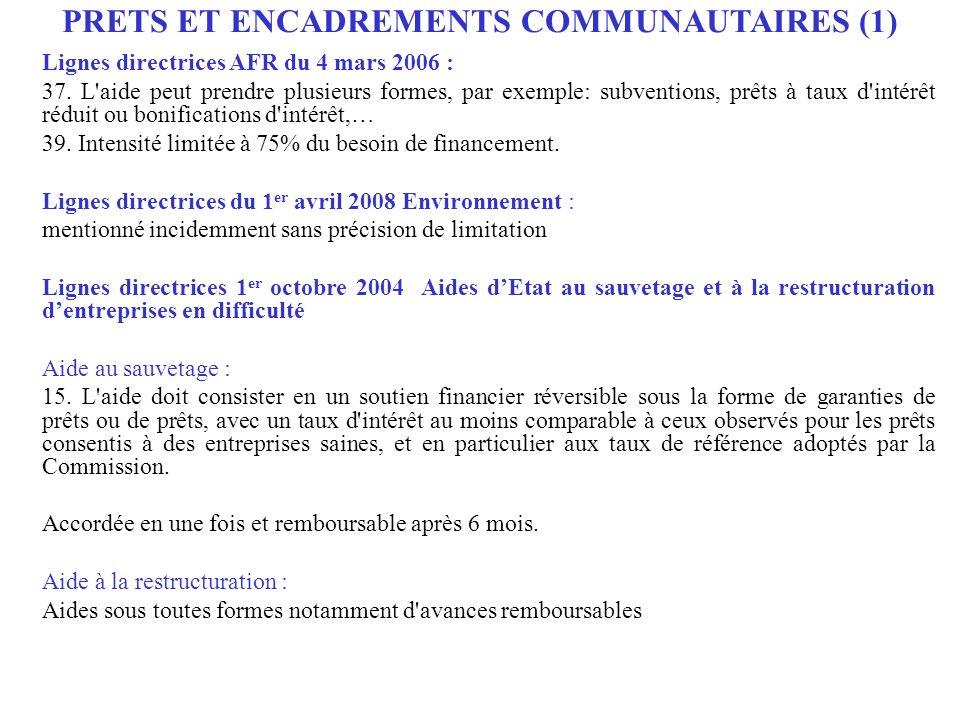 Lignes directrices AFR du 4 mars 2006 : 37. L'aide peut prendre plusieurs formes, par exemple: subventions, prêts à taux d'intérêt réduit ou bonificat