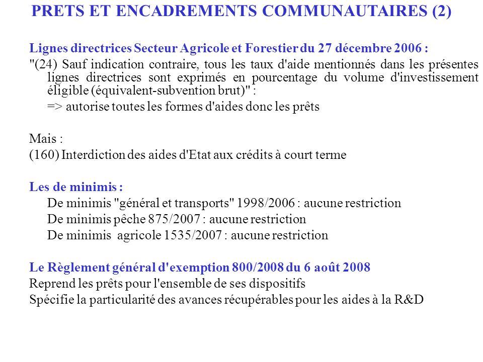 Lignes directrices Secteur Agricole et Forestier du 27 décembre 2006 :