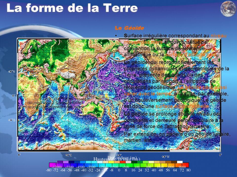 La forme de la Terre Le Géoïde Surface irrégulière correspondant au niveau moyen des mers et qui constitue par convention la surface de référence alti