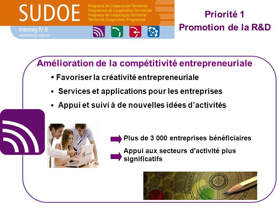 Favoriser la créativité entrepreneuriale Services et applications pour les entreprises Appui et suivi à de nouvelles idées dactivités Plus de 3 000 entreprises bénéficiaires Appui aux secteurs d activité plus significatifs Amélioration de la compétitivité entrepreneuriale Priorité 1 Promotion de la R&D