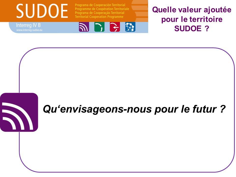 Quelle valeur ajoutée pour le territoire SUDOE ? Quenvisageons-nous pour le futur ?