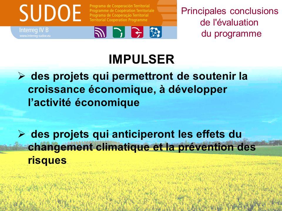 IMPULSER des projets qui permettront de soutenir la croissance économique, à développer lactivité économique des projets qui anticiperont les effets du changement climatique et la prévention des risques Principales conclusions de l évaluation du programme