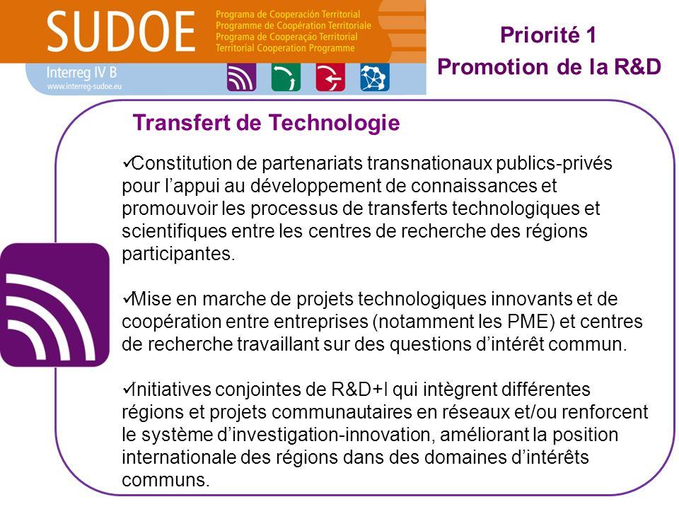 Constitution de partenariats transnationaux publics-privés pour lappui au développement de connaissances et promouvoir les processus de transferts technologiques et scientifiques entre les centres de recherche des régions participantes.