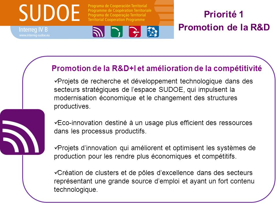 Projets de recherche et développement technologique dans des secteurs stratégiques de lespace SUDOE, qui impulsent la modernisation économique et le changement des structures productives.
