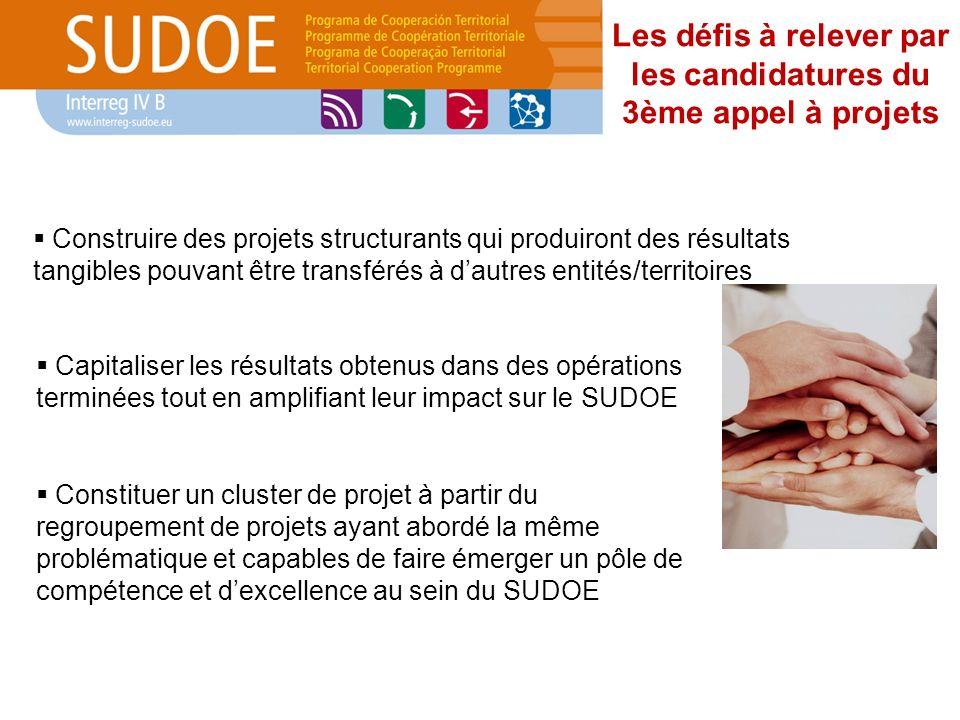 Les défis à relever par les candidatures du 3ème appel à projets Construire des projets structurants qui produiront des résultats tangibles pouvant êt