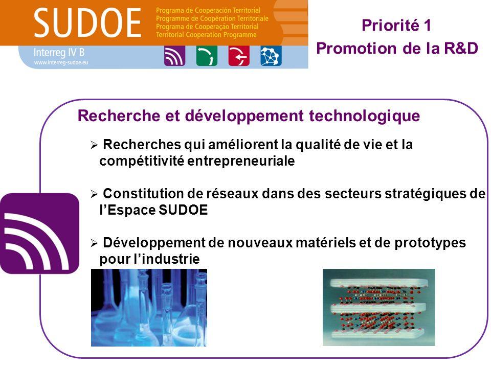 Recherches qui améliorent la qualité de vie et la compétitivité entrepreneuriale Constitution de réseaux dans des secteurs stratégiques de lEspace SUD