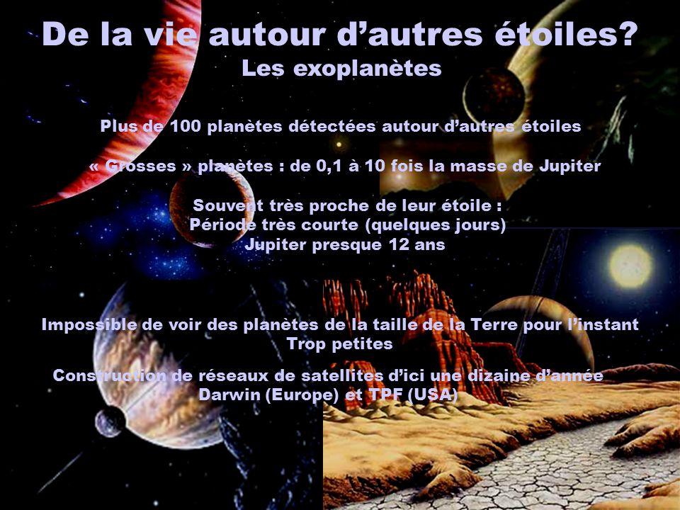 Les exoplanètes Plus de 100 planètes détectées autour dautres étoiles « Grosses » planètes : de 0,1 à 10 fois la masse de Jupiter Souvent très proche