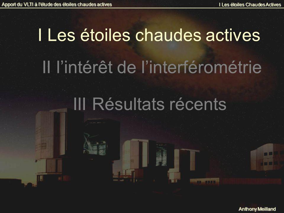 I Les étoiles chaudes actives Anthony Meilland I Les étoiles Chaudes Actives Apport du VLTI à l'étude des étoiles chaudes actives II lintérêt de linte