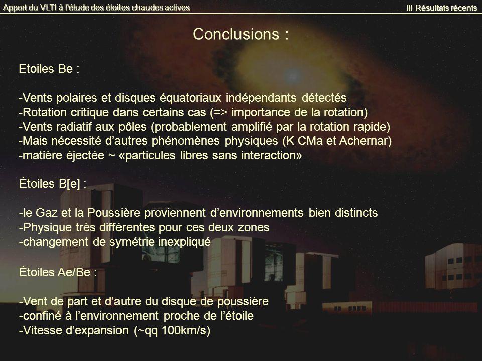 III Résultats récents Apport du VLTI à l'étude des étoiles chaudes actives Conclusions : Etoiles Be : -Vents polaires et disques équatoriaux indépenda