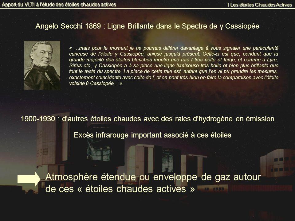 I Les étoiles Chaudes Actives Apport du VLTI à l'étude des étoiles chaudes actives Angelo Secchi 1869 : Ligne Brillante dans le Spectre de γ Cassiopée