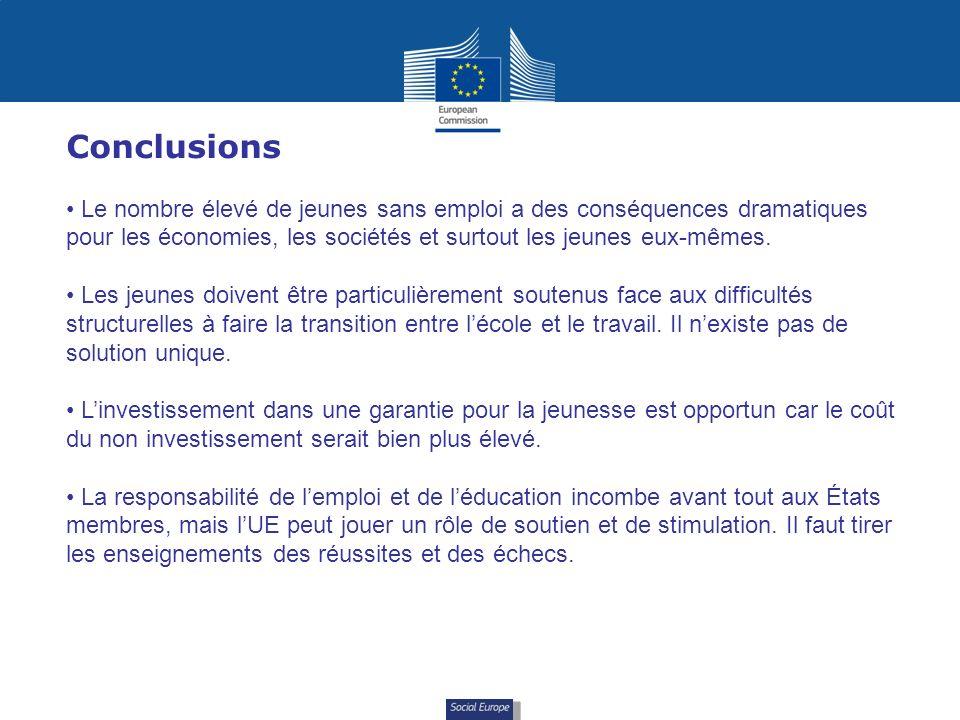 Social Europe Conclusions Le nombre élevé de jeunes sans emploi a des conséquences dramatiques pour les économies, les sociétés et surtout les jeunes eux-mêmes.