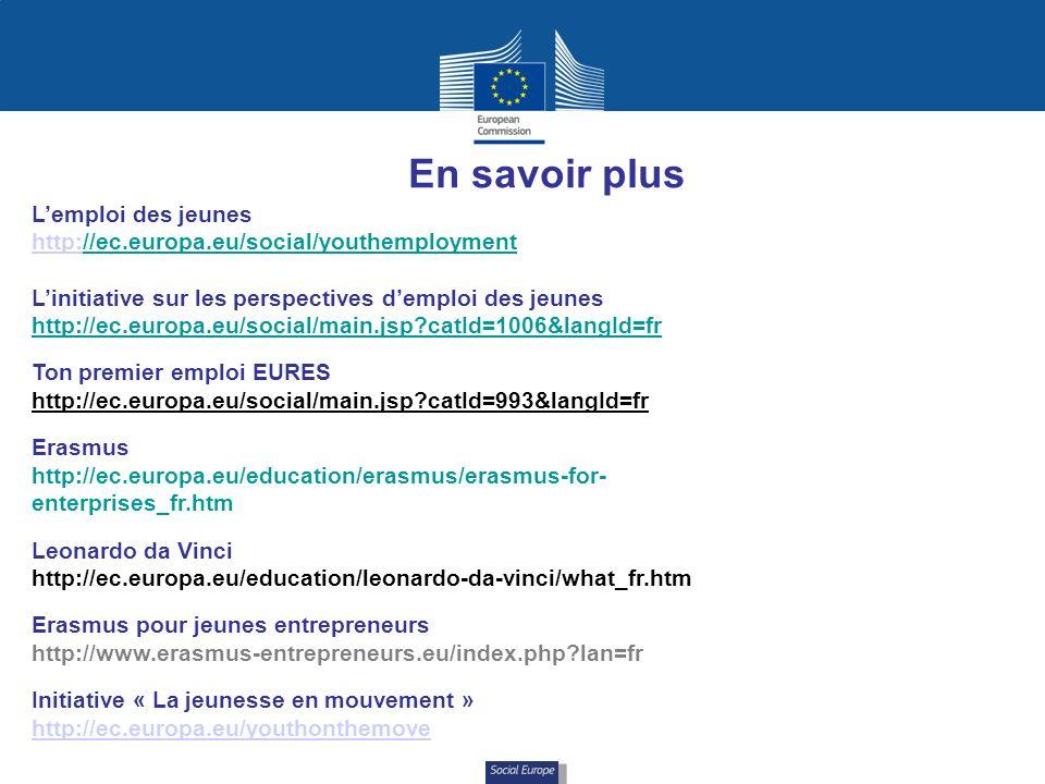Social Europe En savoir plus Lemploi des jeunes http:http://ec.europa.eu/social/youthemployment Linitiative sur les perspectives demploi des jeunes http://ec.europa.eu/social/main.jsp catId=1006&langId=fr Ton premier emploi EURES http://ec.europa.eu/social/main.jsp catId=993&langId=fr Erasmus http://ec.europa.eu/education/erasmus/erasmus-for- enterprises_fr.htm Leonardo da Vinci http://ec.europa.eu/education/leonardo-da-vinci/what_fr.htm Erasmus pour jeunes entrepreneurs http://www.erasmus-entrepreneurs.eu/index.php lan=fr Initiative « La jeunesse en mouvement » http://ec.europa.eu/youthonthemove