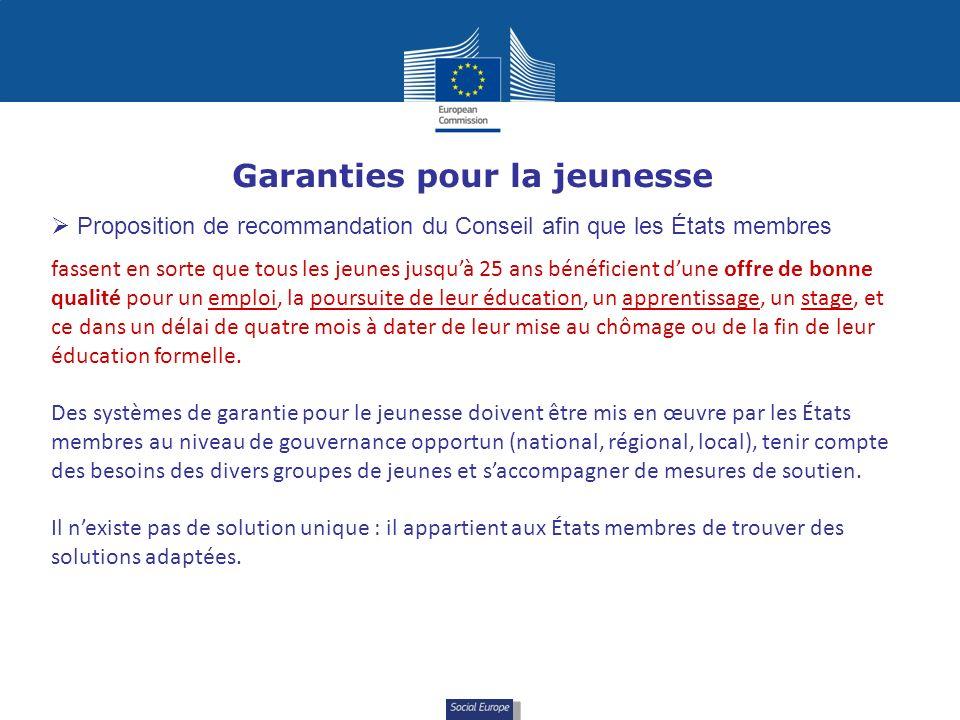 Social Europe Garanties pour la jeunesse Proposition de recommandation du Conseil afin que les États membres fassent en sorte que tous les jeunes jusq