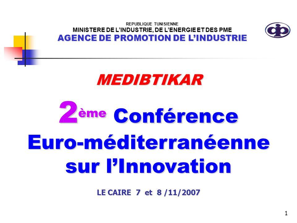 1 MEDIBTIKAR 2 ème Conférence Euro-méditerranéenne sur lInnovation LE CAIRE 7 et 8 /11/2007 REPUBLIQUE TUNISIENNE MINISTERE DE LINDUSTRIE, DE LENERGIE