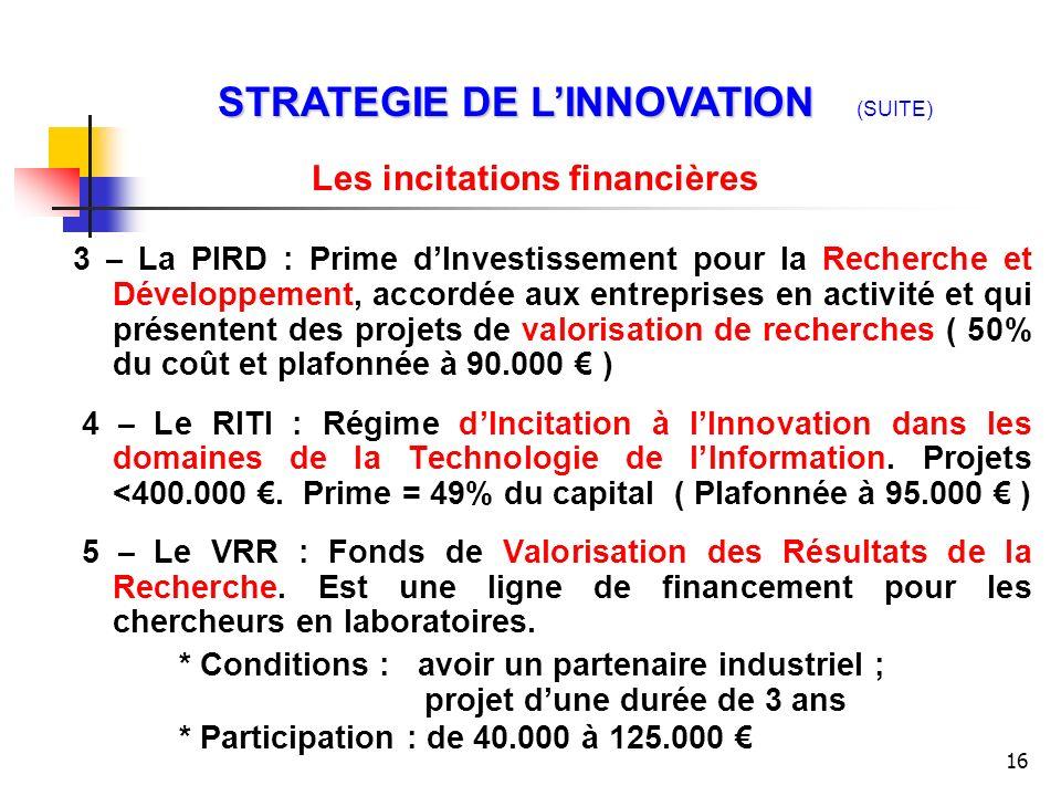 16 3 – La PIRD : Prime dInvestissement pour la Recherche et Développement, accordée aux entreprises en activité et qui présentent des projets de valor
