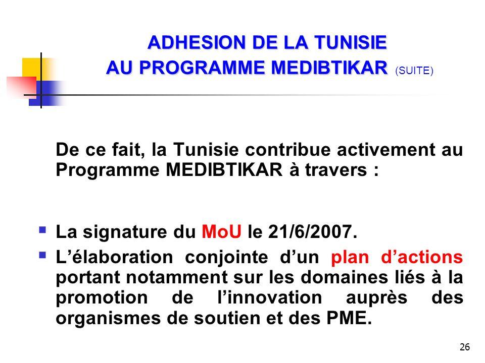26 ADHESION DE LA TUNISIE AU PROGRAMME MEDIBTIKAR ADHESION DE LA TUNISIE AU PROGRAMME MEDIBTIKAR (SUITE) De ce fait, la Tunisie contribue activement a