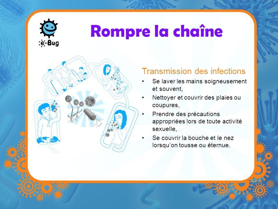 Rompre la chaîne Transmission des infections Se laver les mains soigneusement et souvent, Nettoyer et couvrir des plaies ou coupures, Prendre des préc
